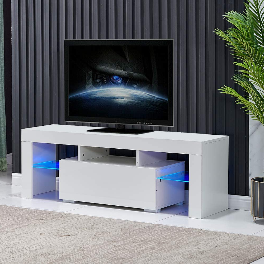 Entertainment Center For Tvs, Modern White Tv Stand With Regarding Milano White Tv Stands With Led Lights (View 4 of 20)