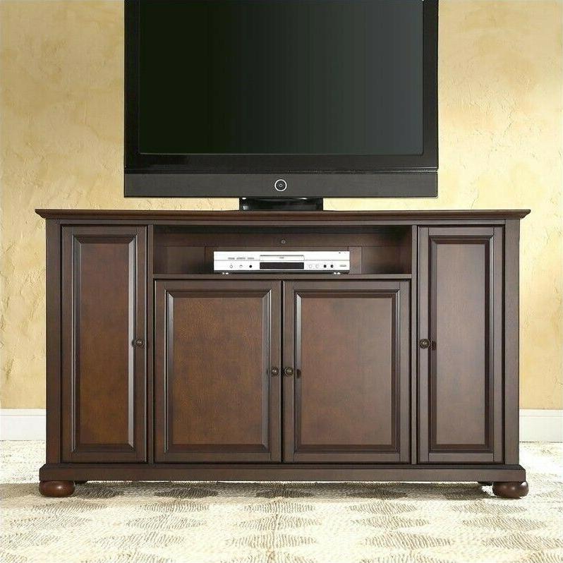 "Entertainment Center Mahogany Cabinet Alexandria 60"" Tv With Regard To Tasi Traditional Windowpane Corner Tv Stands (View 8 of 20)"