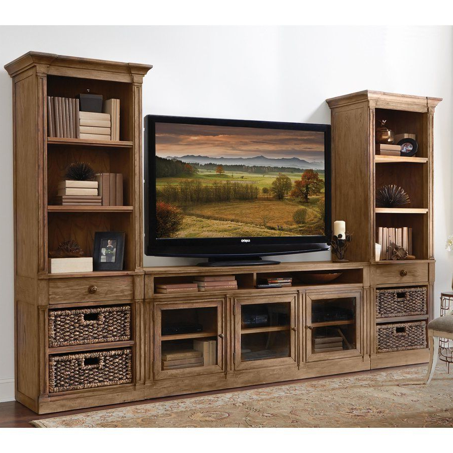 Entertainment Center With Storage Baskets | Tyres2c Throughout Sidmouth Oak Corner Tv Stands (View 16 of 20)