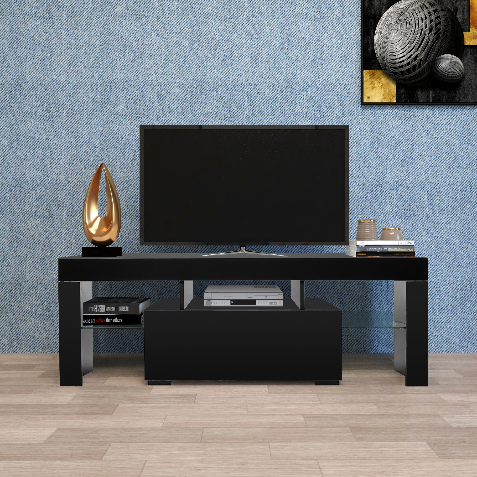 Entertainment Centers And Tv Stands, Yofe Tv Stand With Intended For Tv Stands Fwith Tv Mount Silver/black (View 5 of 20)