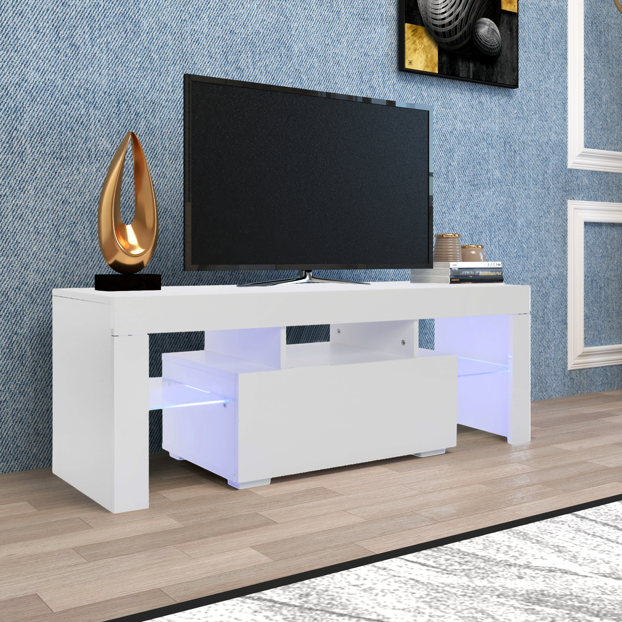 Entertainment Centers And Tv Stands, Yofe Tv Stand With Throughout Zimtown Tv Stands With High Gloss Led Lights (View 3 of 20)
