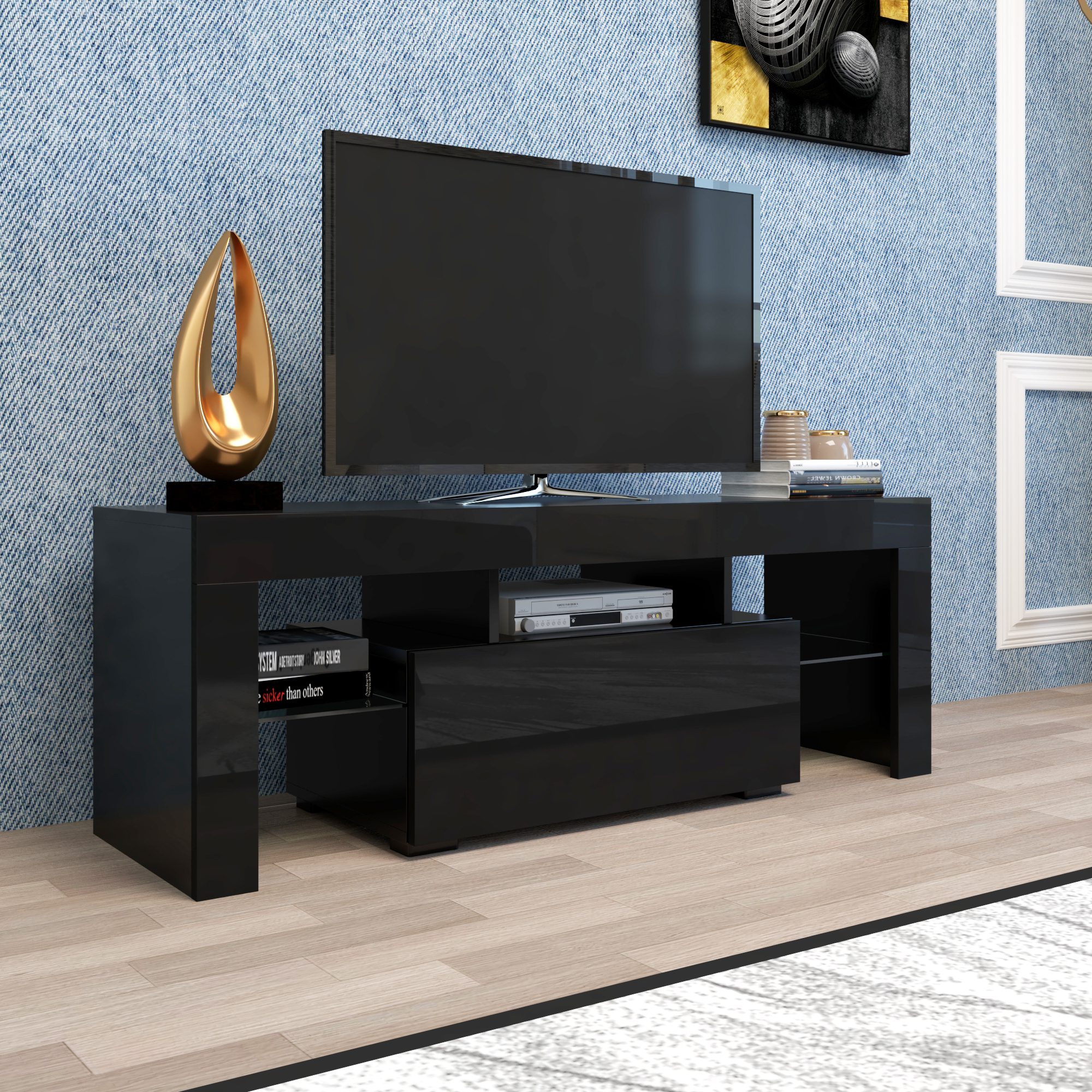 Entertainment Centers And Tv Stands, Yofe Tv Stand With With High Glass Modern Entertainment Tv Stands For Living Room Bedroom (View 6 of 20)