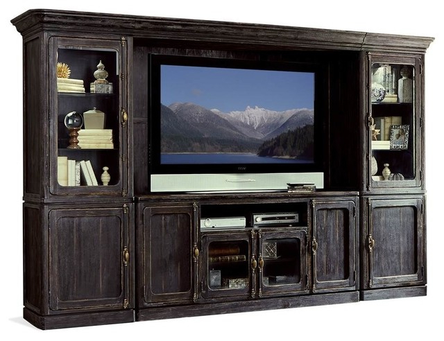 Entertainment Centre, Weathered Worn Black Finish – Rustic Inside Canyon Oak Tv Stands (View 13 of 20)