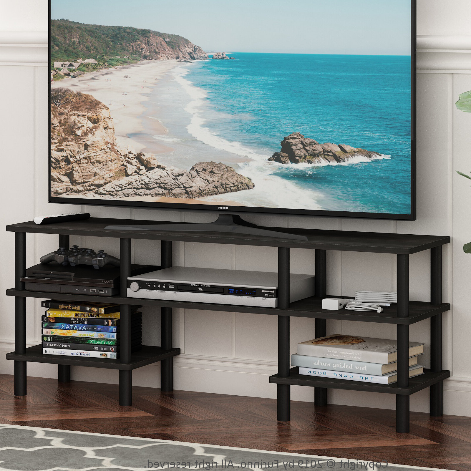 Espresso/black Furinno Turn N Tube 4 Tier Multipurpose With Tier Entertainment Tv Stands In Black (View 6 of 20)