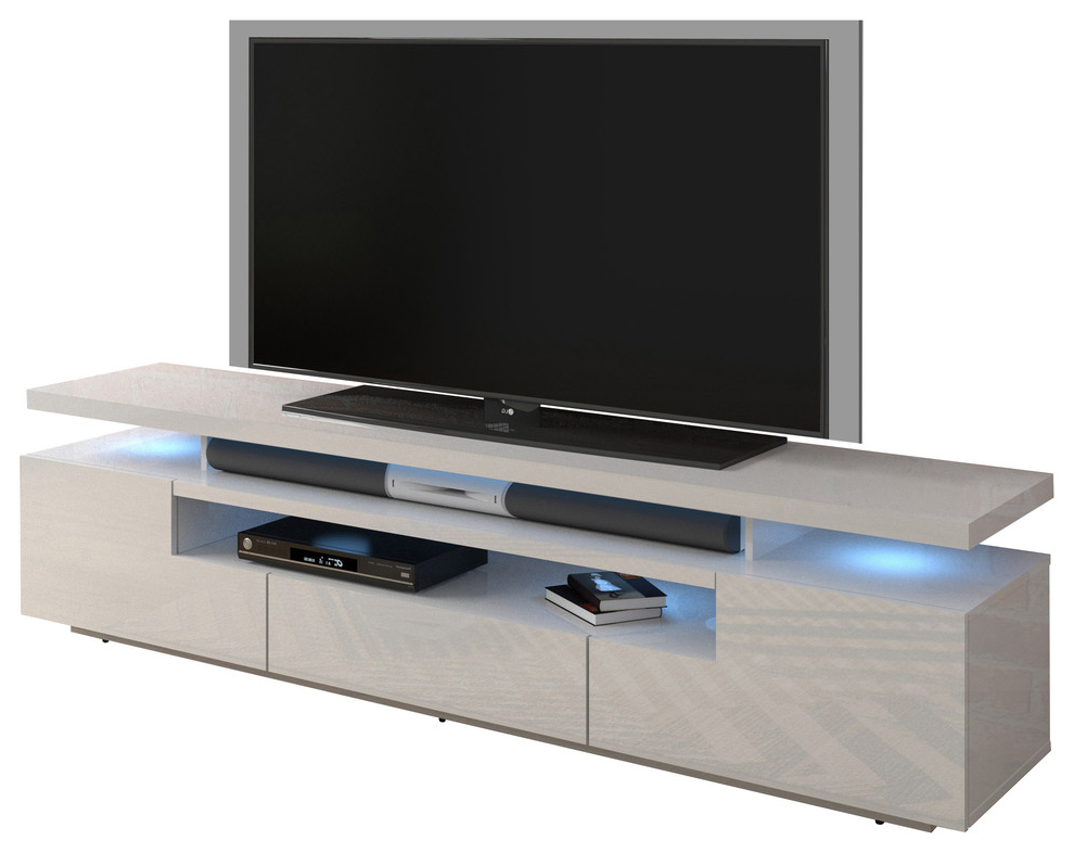 """Eva 79"""" Modern High Gloss Tv Stand With 16 Color Leds With Regard To Milano 200 Wall Mounted Floating Led 79"""" Tv Stands (View 3 of 20)"""