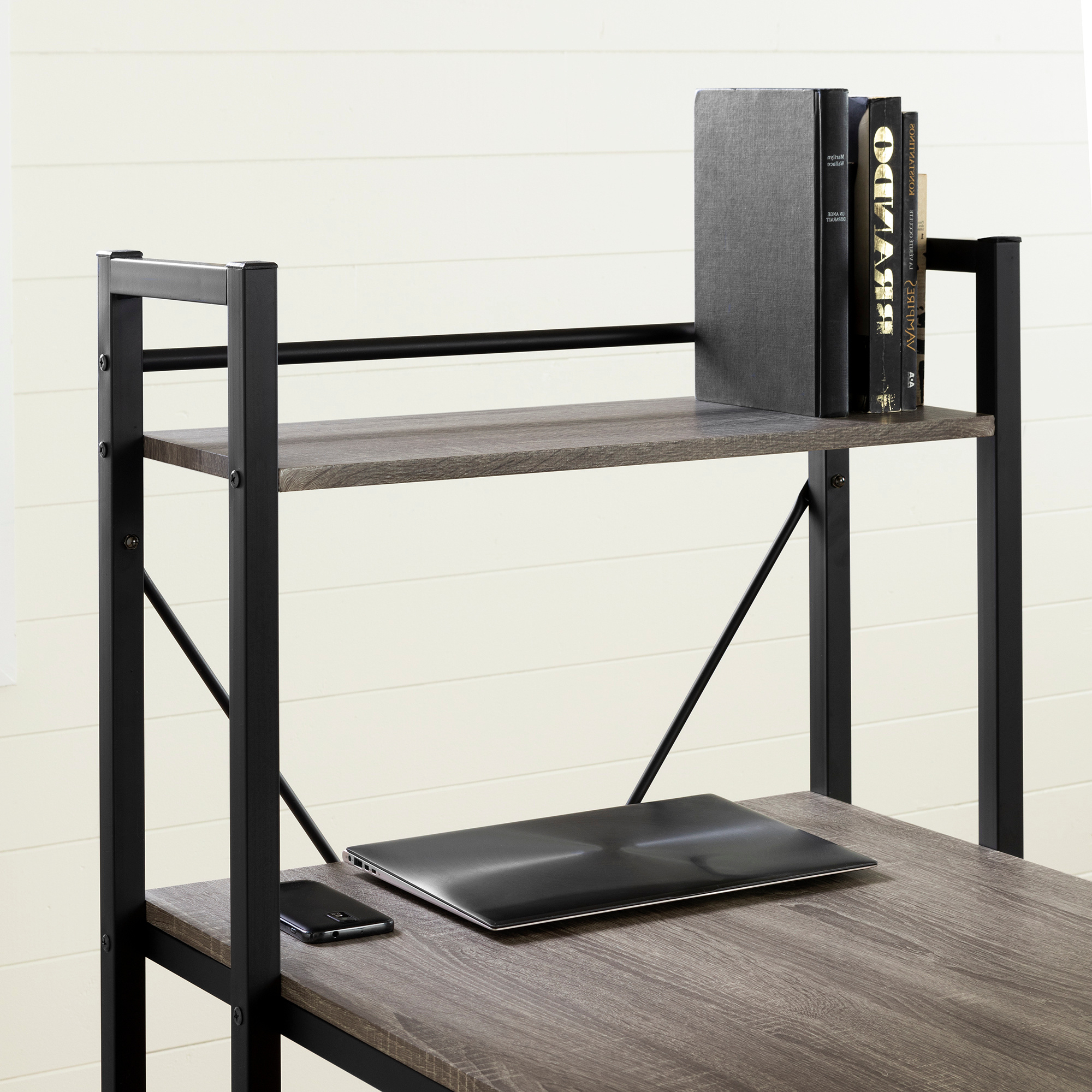 Evane Industrial Desk With Bookcase, Oak Camel – M2go In South Shore Evane Tv Stands With Doors In Oak Camel (View 18 of 20)