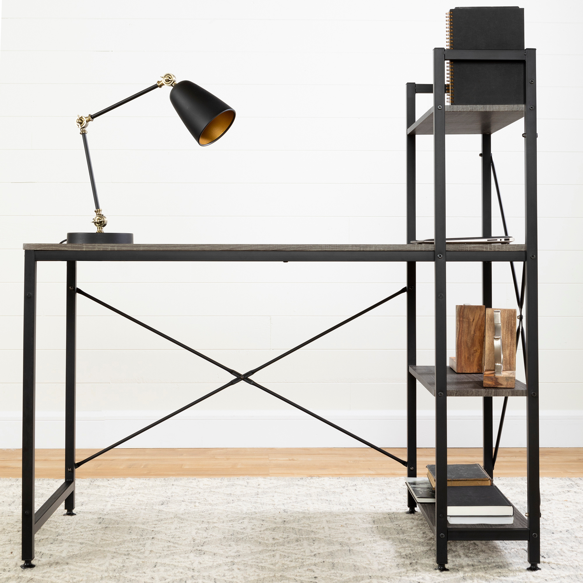 Evane Industrial Desk With Bookcase, Oak Camel – M2go Regarding South Shore Evane Tv Stands With Doors In Oak Camel (View 9 of 20)