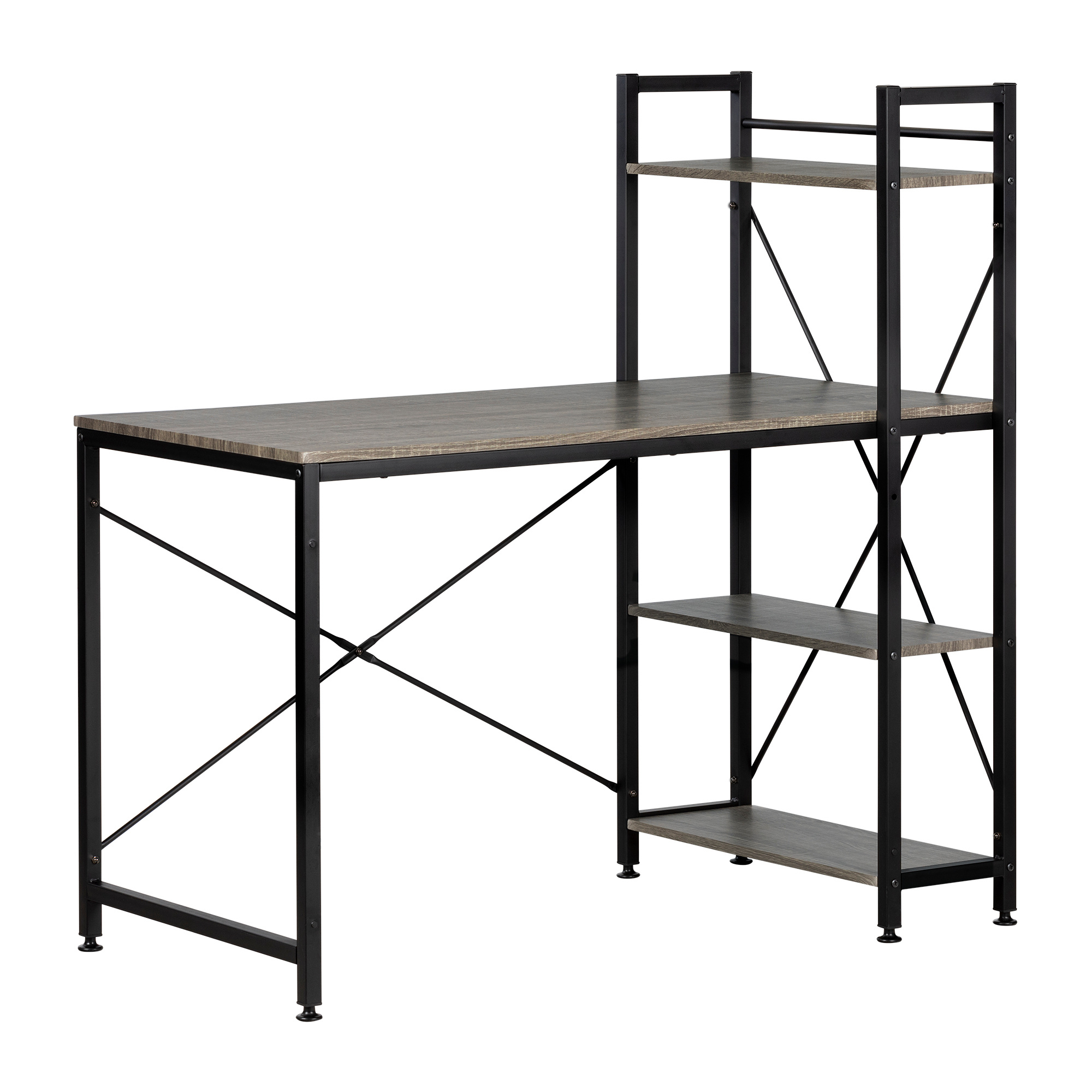 Evane Industrial Desk With Bookcase, Oak Camel – M2go Throughout South Shore Evane Tv Stands With Doors In Oak Camel (View 17 of 20)