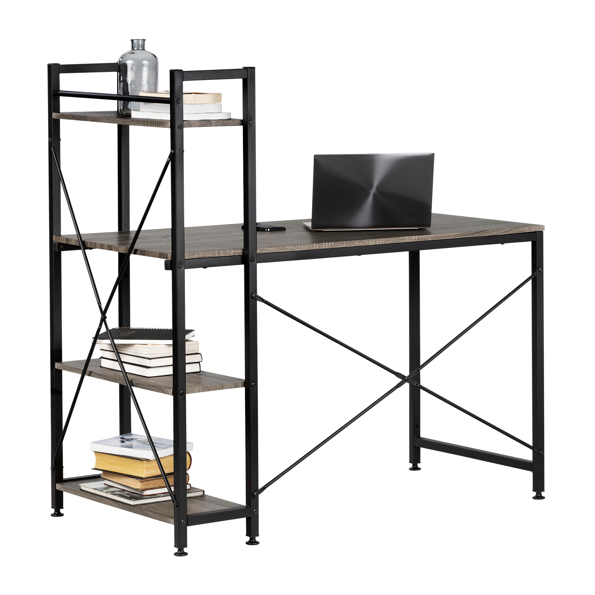 Evane Industrial Desk With Bookcase, Oak Camel – M2go With South Shore Evane Tv Stands With Doors In Oak Camel (View 14 of 20)