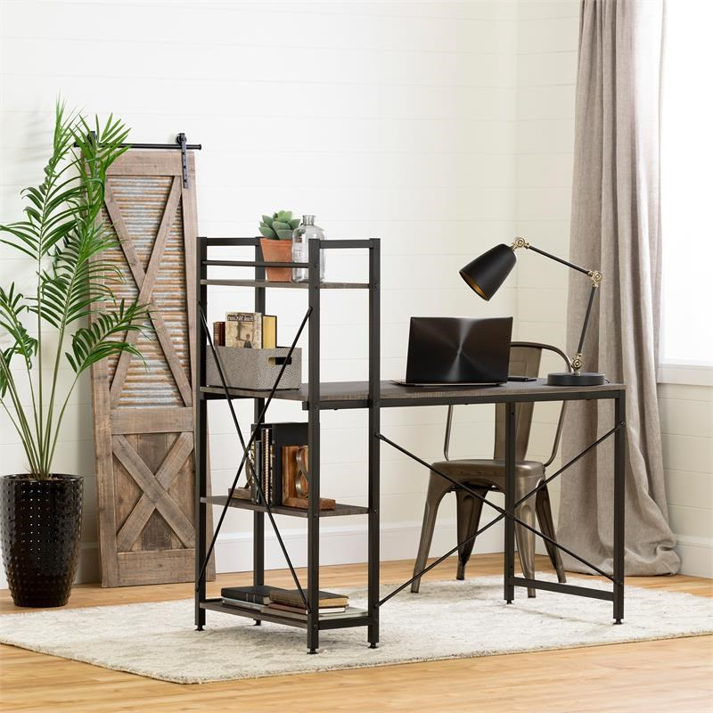 Evane Industrial Desk With Bookcase  Oak Camel South Shore Intended For South Shore Evane Tv Stands With Doors In Oak Camel (View 10 of 20)