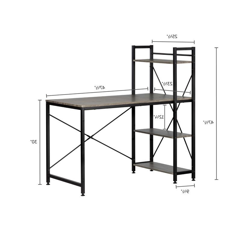 Evane Industrial Desk With Bookcase  Oak Camel South Shore Pertaining To South Shore Evane Tv Stands With Doors In Oak Camel (View 16 of 20)