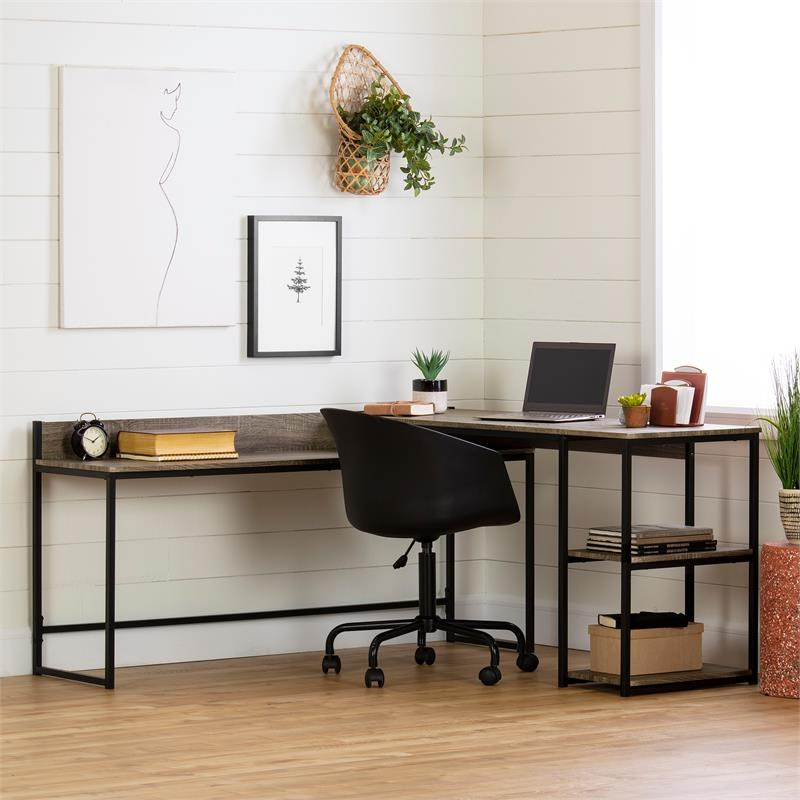 Evane L Shaped Desk Oak Camel South Shore – 12799 Pertaining To South Shore Evane Tv Stands With Doors In Oak Camel (View 8 of 20)