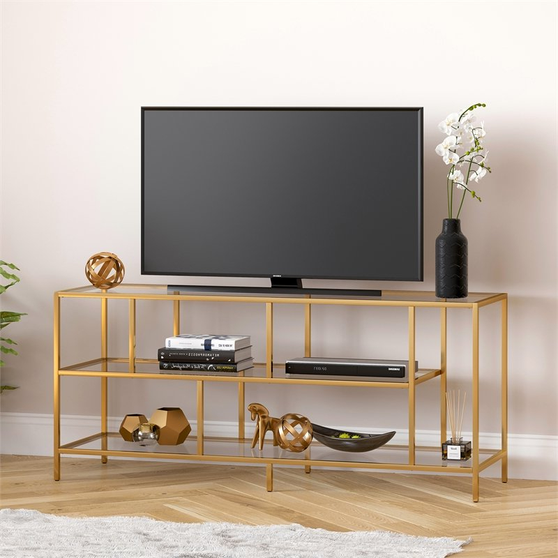 """Evelyn&zoe Contemporary Metal Tv Stand With Glass Shelves Pertaining To Adayah Tv Stands For Tvs Up To 60"""" (View 12 of 20)"""
