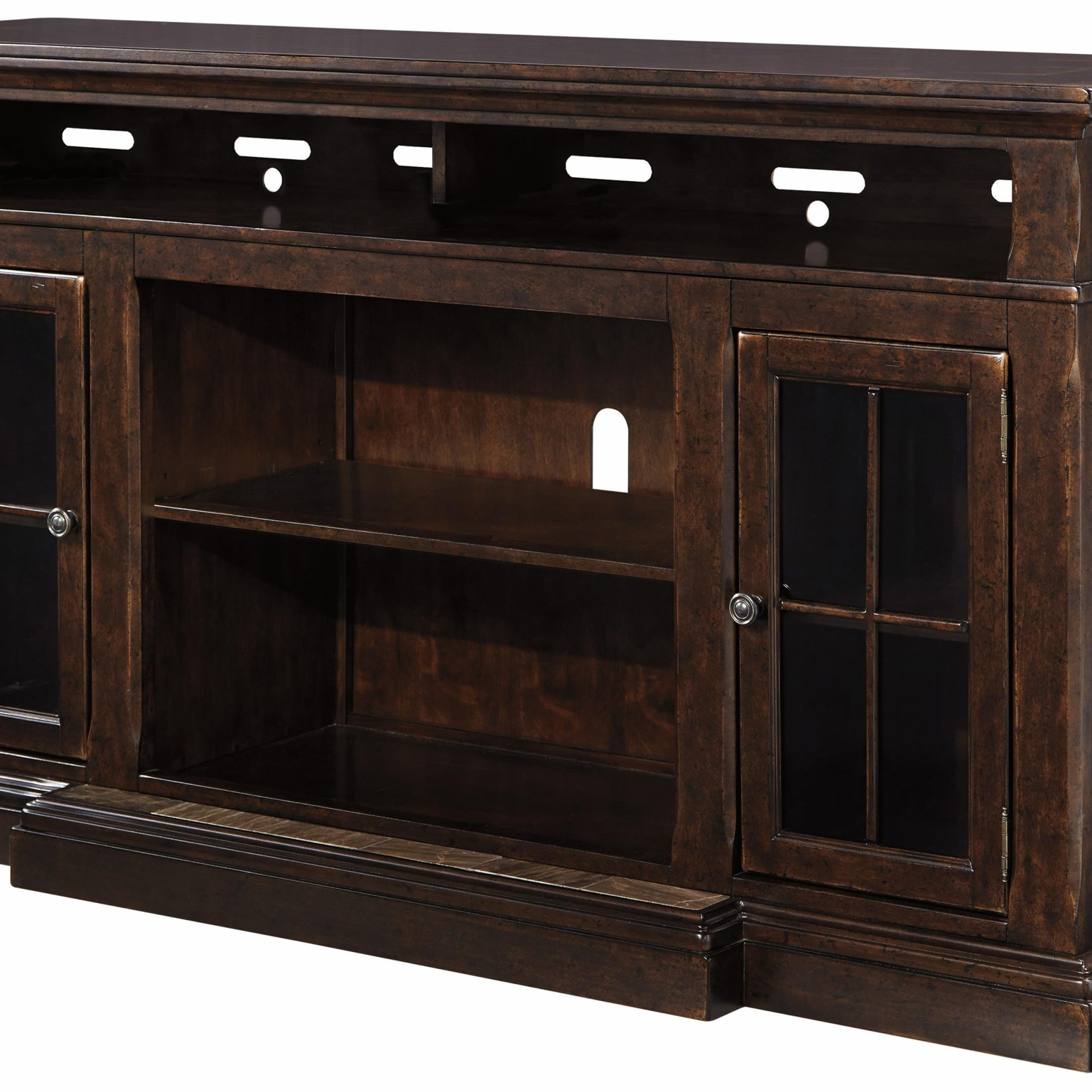 Extra Large Tv Stand With Breakfront & 2 Glass Doors For Oliver Wide Tv Stands (View 18 of 20)