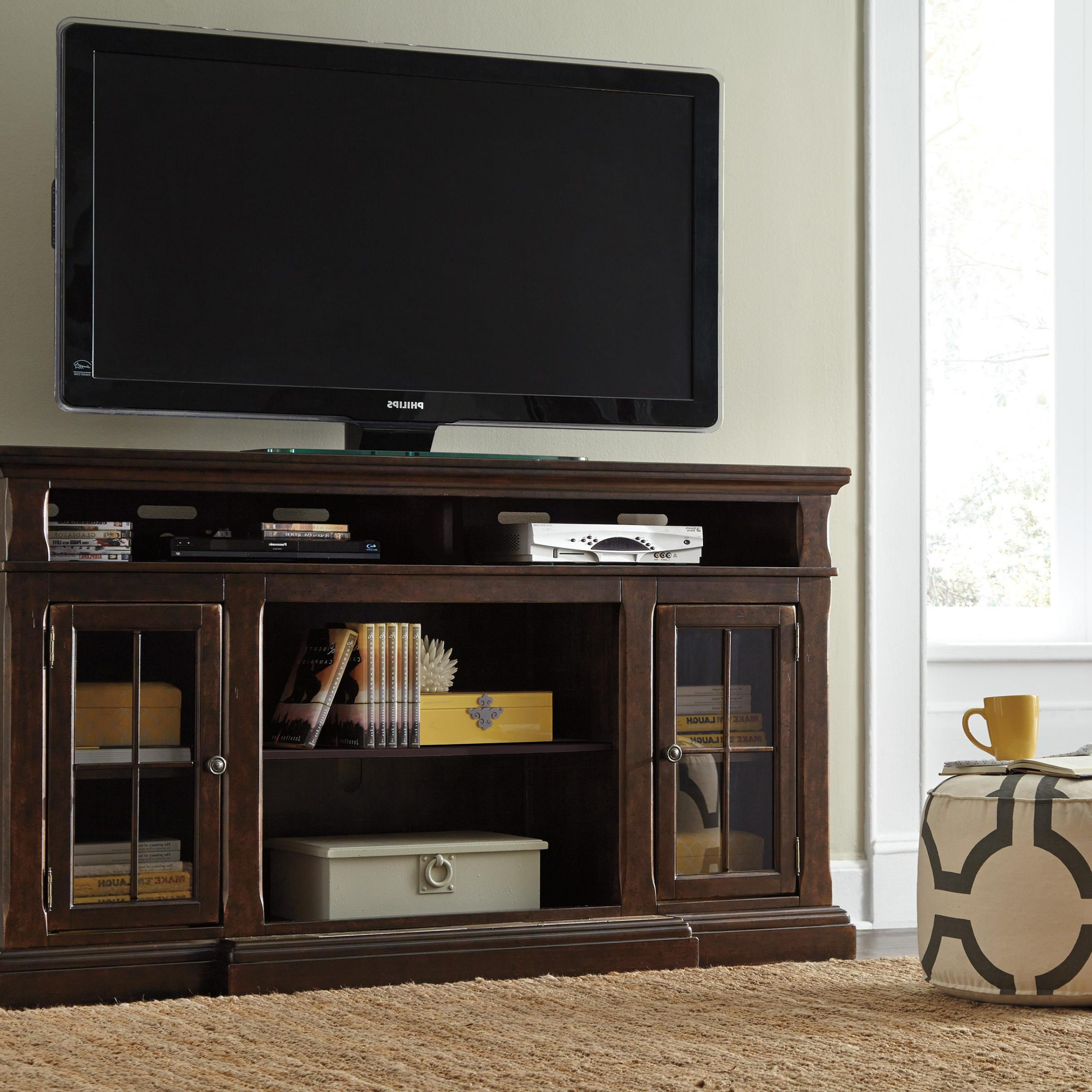 "Extra Large Tv Stand With Breakfront & 2 Glass Doors Regarding Glass Doors Corner Tv Stands For Tvs Upto 42"" (View 13 of 20)"