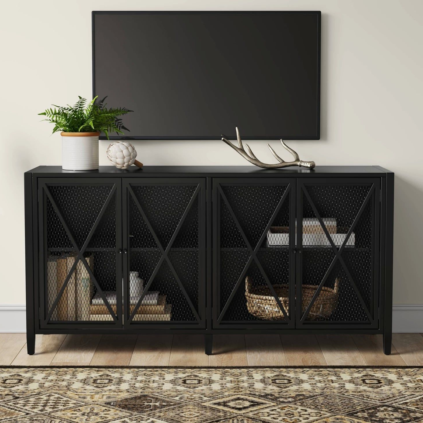 Fairmont Metal Media Stand With Storage | Metal Tv Stand Intended For Tabletop Tv Stands Base With Black Metal Tv Mount (View 10 of 20)