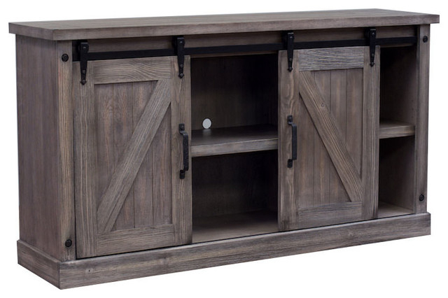 """Farmhouse Barn Door Console – Rustic – Entertainment Inside Jaxpety 58"""" Farmhouse Sliding Barn Door Tv Stands In Rustic Gray (View 6 of 20)"""