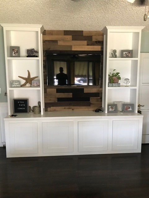 Farmhouse Entertainment Center – Ryobi Nation Projects With Farmhouse Woven Paths Glass Door Tv Stands (View 9 of 20)