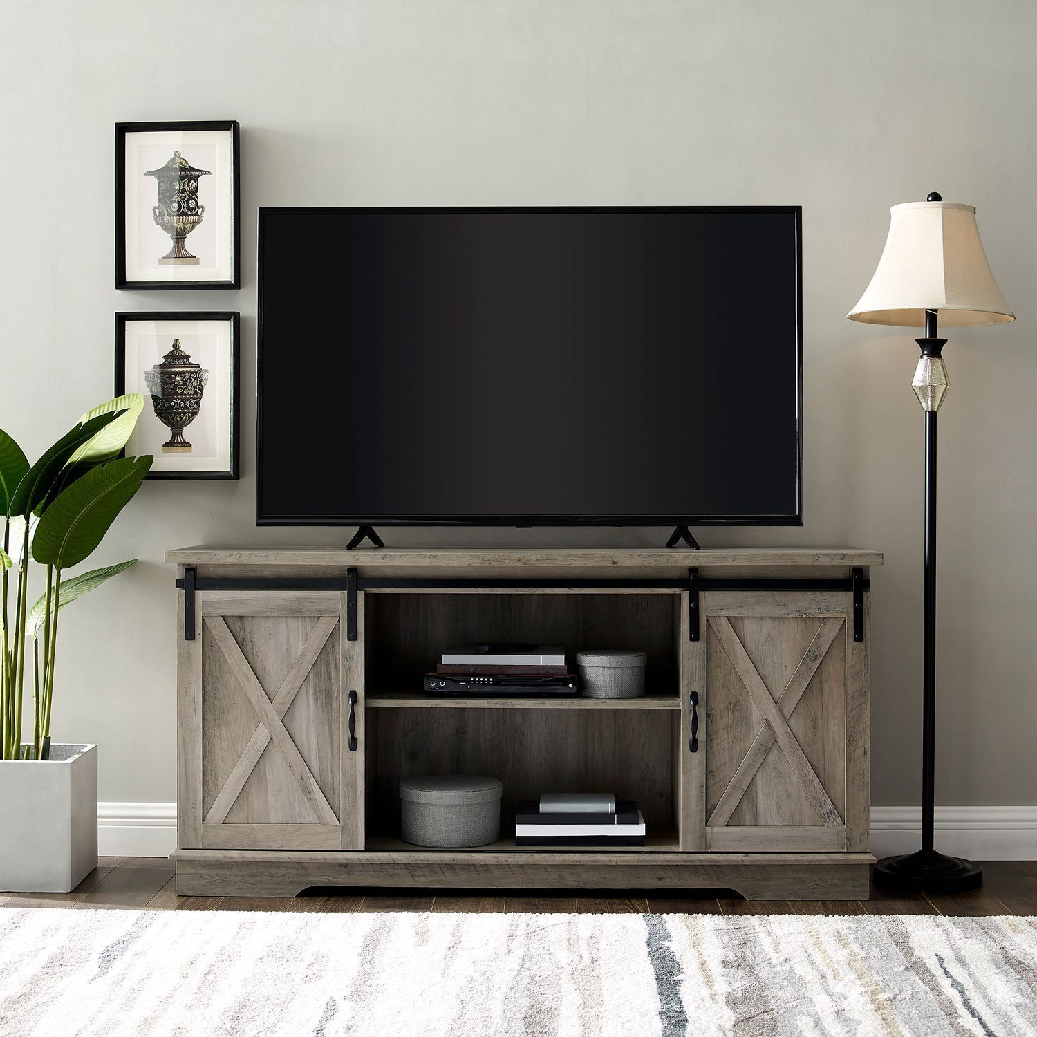 """Farmhouse Graywash Sliding Barn Door 58"""" Tv Stand   Living For Jaxpety 58"""" Farmhouse Sliding Barn Door Tv Stands (View 13 of 20)"""