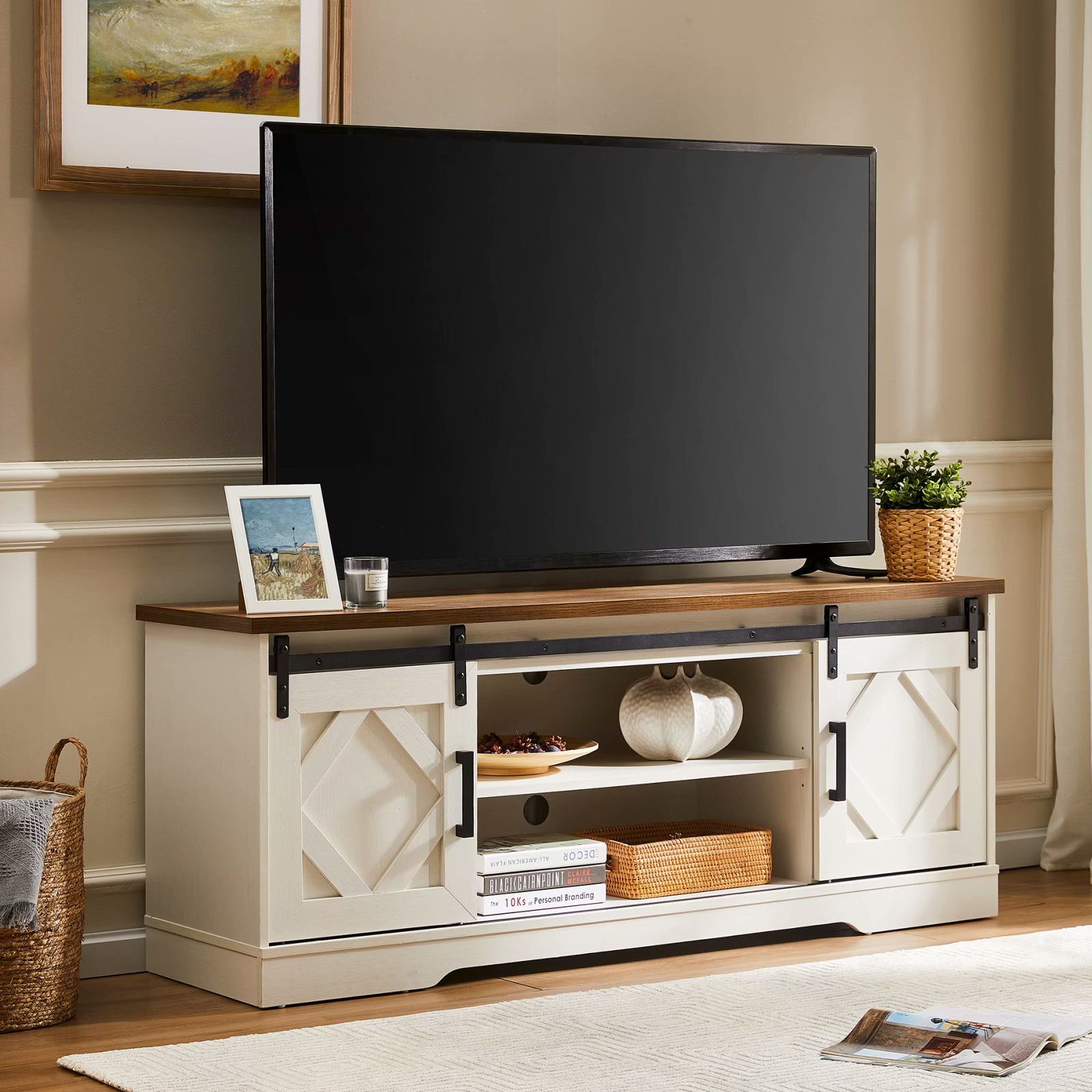 """Farmhouse Tv Stand For Tv Up To 65"""",sliding Barn Door Regarding Glass Shelves Tv Stands For Tvs Up To 65"""" (View 1 of 20)"""