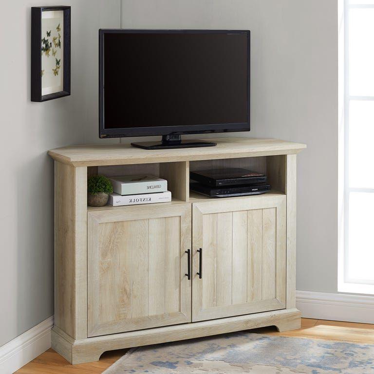 Farmhouse White Oak Corner Tv Stand With Beadboard Door Inside Grooved Door Corner Tv Stands (View 4 of 20)