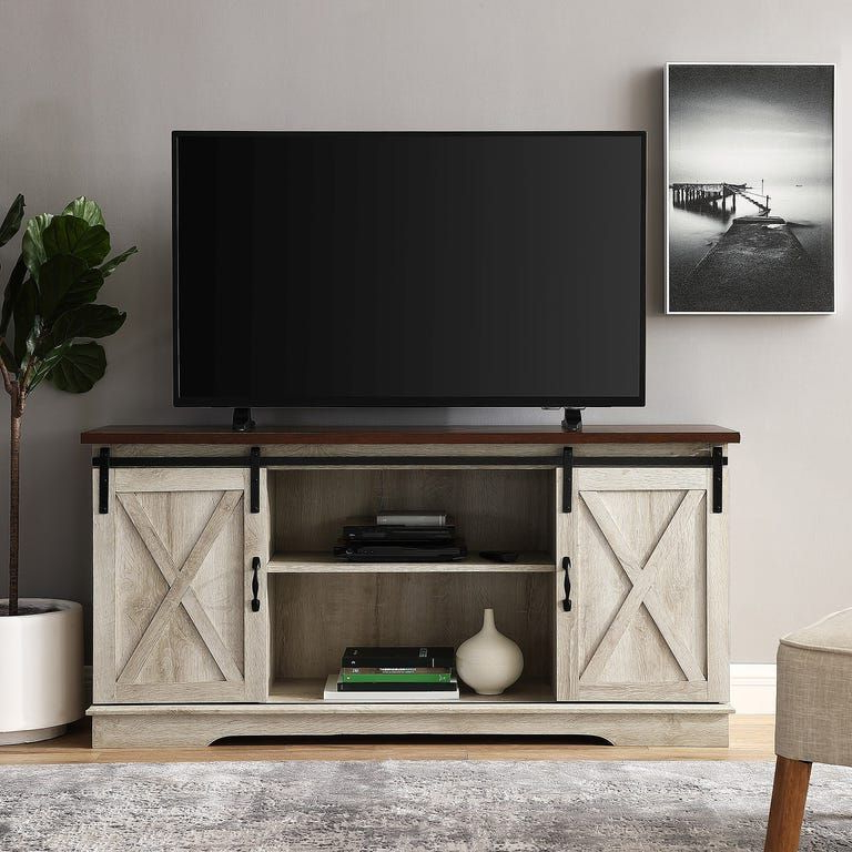 """Farmhouse Whitewashed Oak Sliding Barn Door 58"""" Tv Stand Throughout Jaxpety 58"""" Farmhouse Sliding Barn Door Tv Stands (View 15 of 20)"""