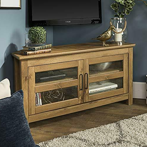 """Farmhouse Wood Corner Tv Stand For Up To 50"""" Flat Screen In Avalene Rustic Farmhouse Corner Tv Stands (View 6 of 20)"""