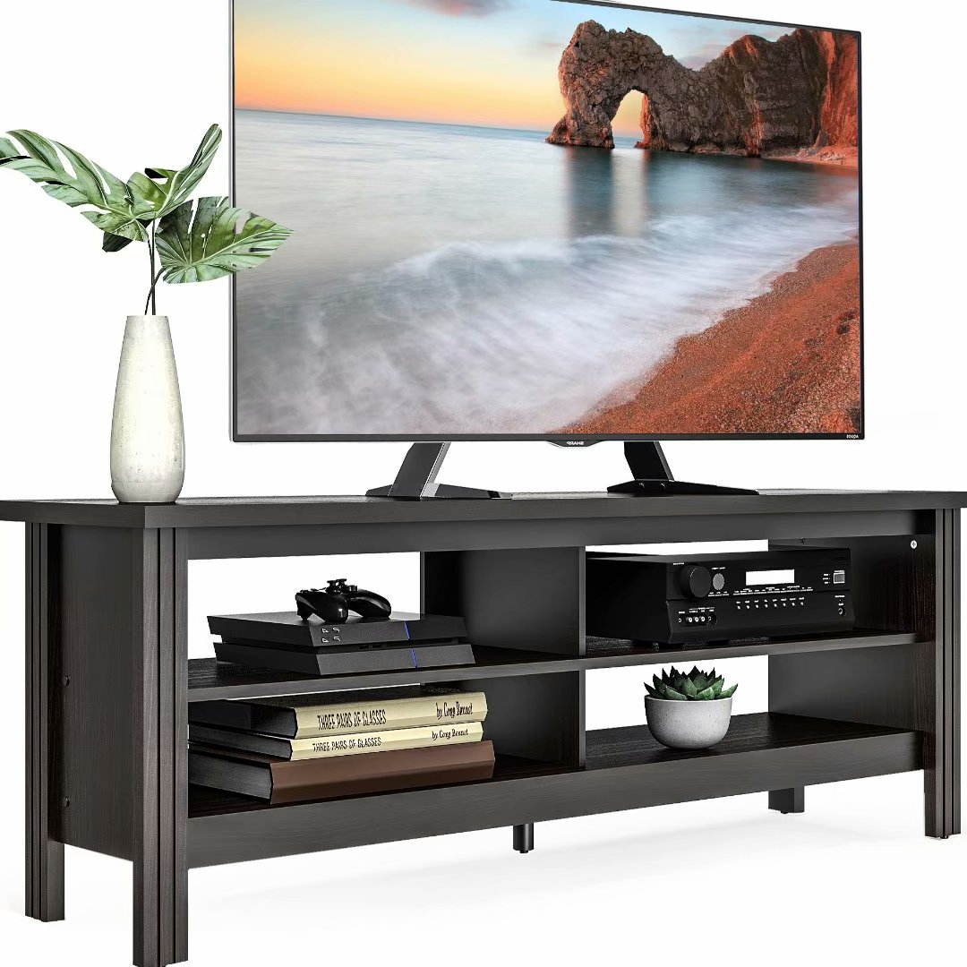 Farmhouse Wood Tv Stand For 65inch Flat Screen,media Inside Horizontal Or Vertical Storage Shelf Tv Stands (View 8 of 20)