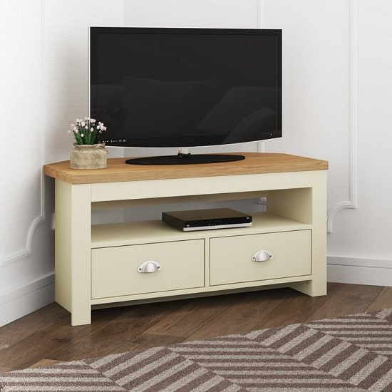 Fiona Wooden Corner Tv Stand In Cream And Oak With 2 Pertaining To Tv Stands With Drawer And Cabinets (View 8 of 20)