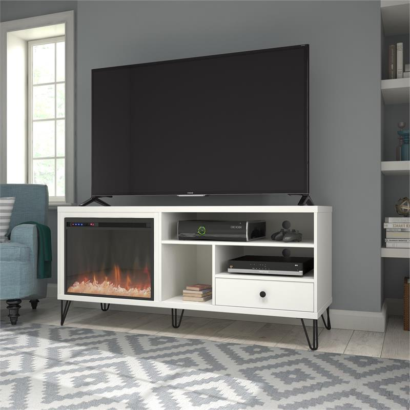 Fireplace Tv Stand, Electric Fireplace Tv Stands | Cymax Regarding Shelby Corner Tv Stands (View 2 of 20)
