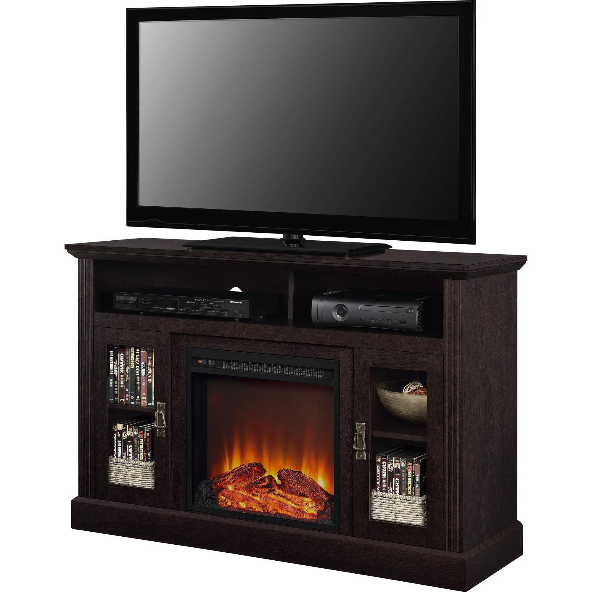 Fireplace Tv Stands – Walmart Inside Better Homes & Gardens Herringbone Tv Stands With Multiple Finishes (View 15 of 20)