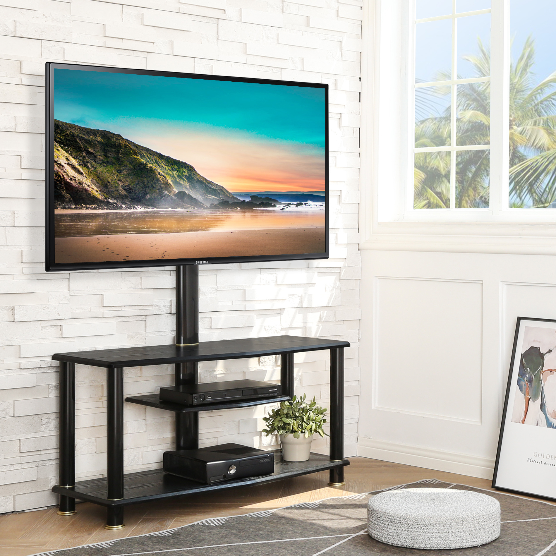 Fitueyes 2 In 1 Floor Tv Stand With Swivel Mount For 32 To In Swivel Floor Tv Stands Height Adjustable (View 8 of 20)