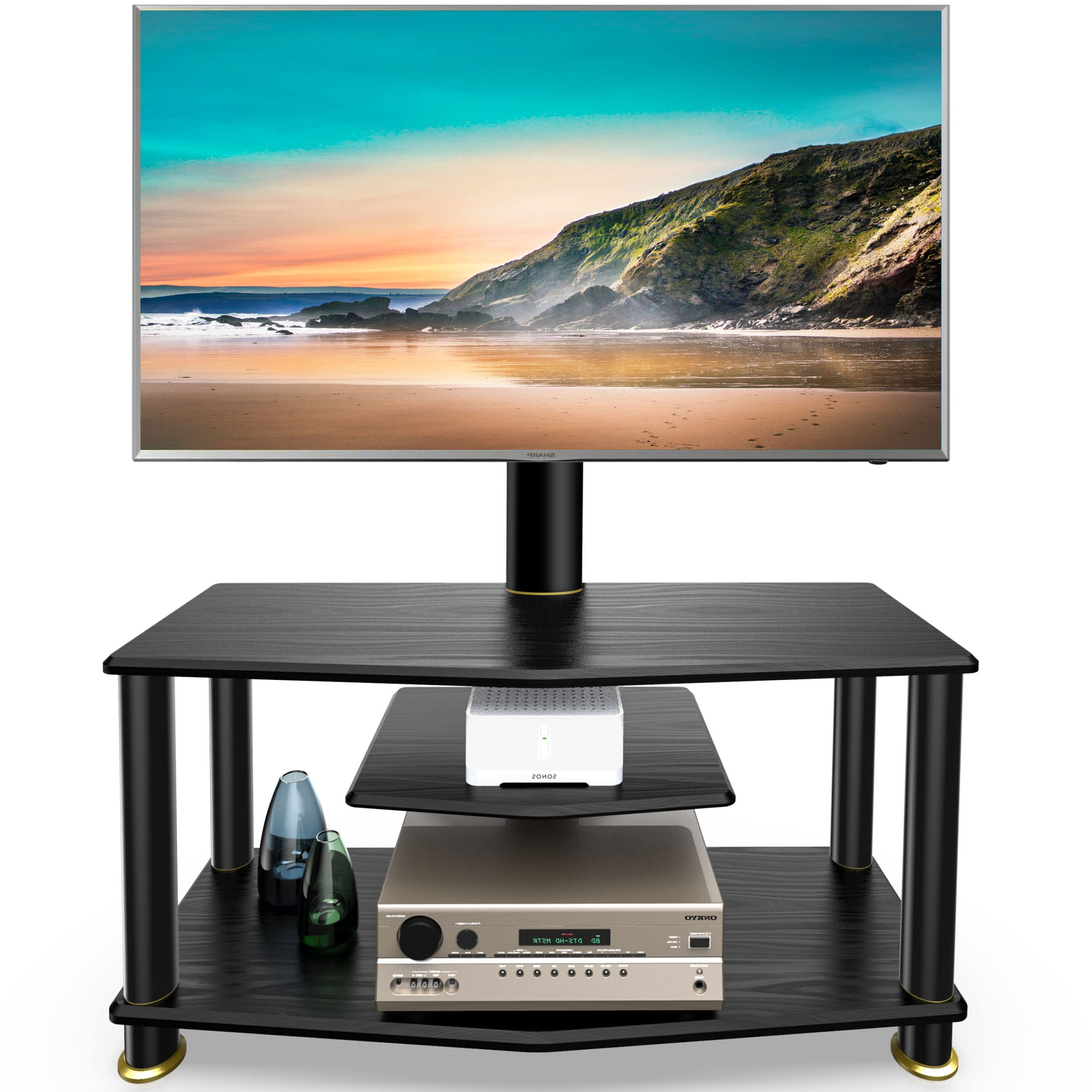 Fitueyes 3 Tiers Floor Tv Stand With Swivel Mount And With Regard To Swivel Floor Tv Stands Height Adjustable (View 2 of 20)