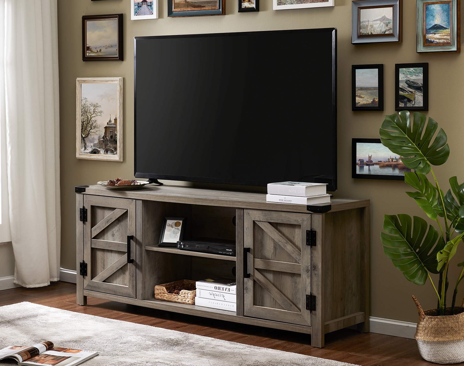 Fitueyes Farmhouse Barn Door Wood Tv Stands For 70 Inch Regarding Fitueyes Rolling Tv Cart For Living Room (View 14 of 20)
