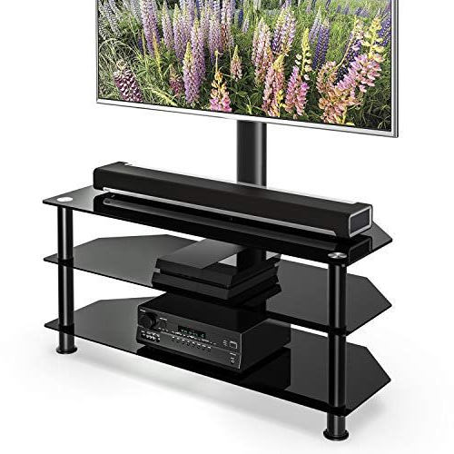 Fitueyes Floor Tv Stand With Swivel Mount Height Pertaining To Fitueyes Rolling Tv Cart For Living Room (View 8 of 20)