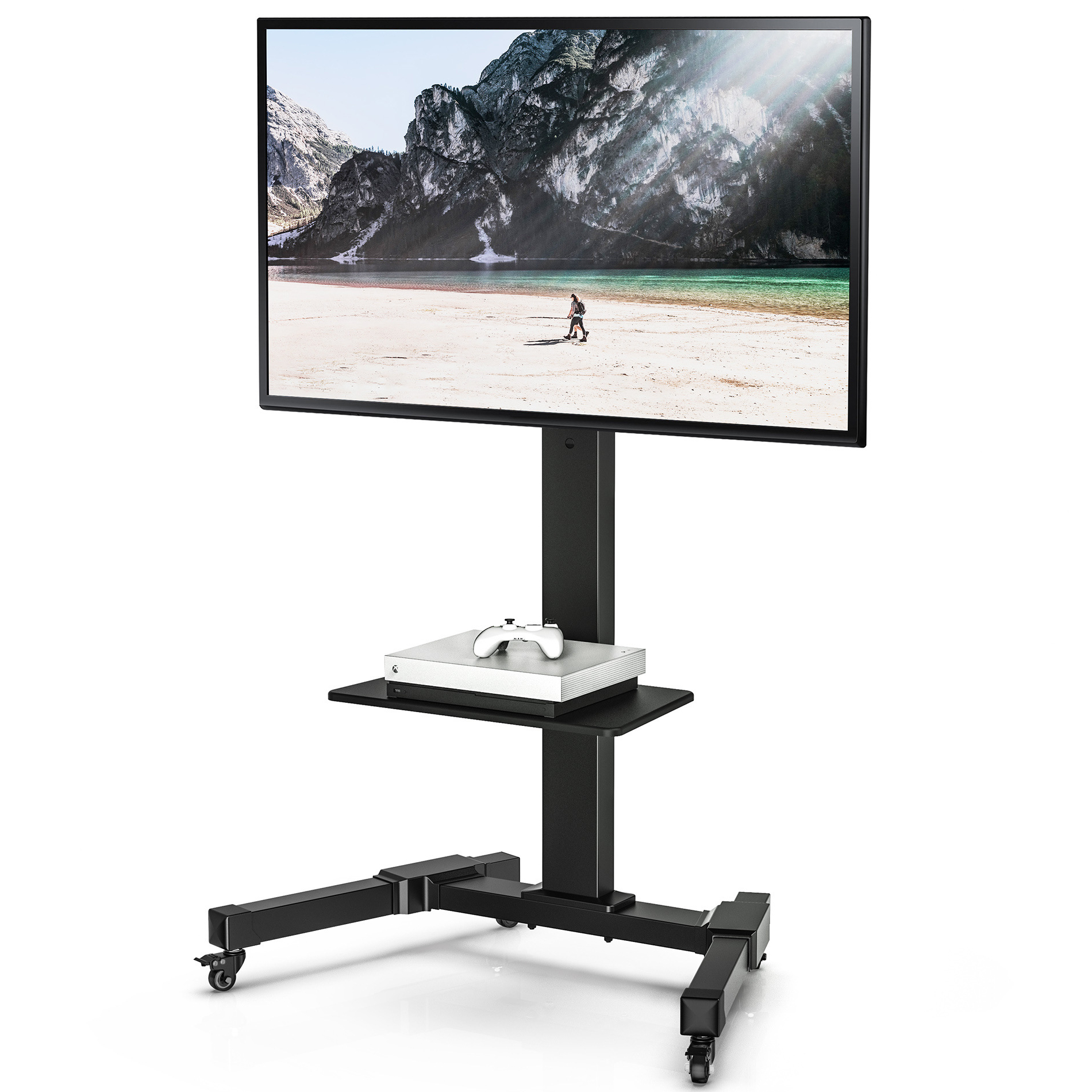 Fitueyes Mobile Swivel Tv Stand Trolley Height Adjustable For Rolling Tv Cart Mobile Tv Stands With Lockable Wheels (View 3 of 20)