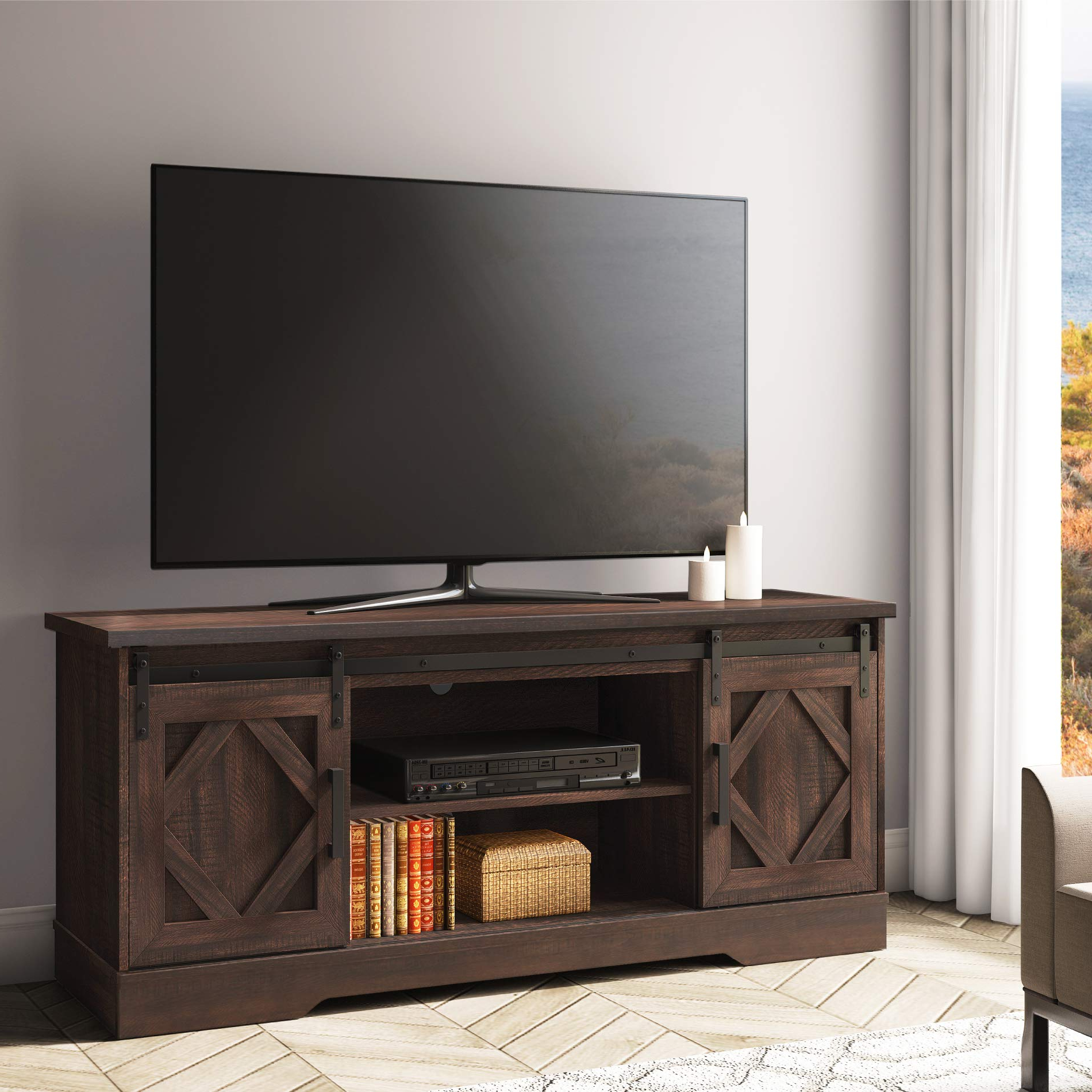 """Fitueyes Sliding Barn Door Tv Stand For 65"""" Flat Screen In Tv Stands With Sliding Barn Door Console In Rustic Oak (View 17 of 20)"""