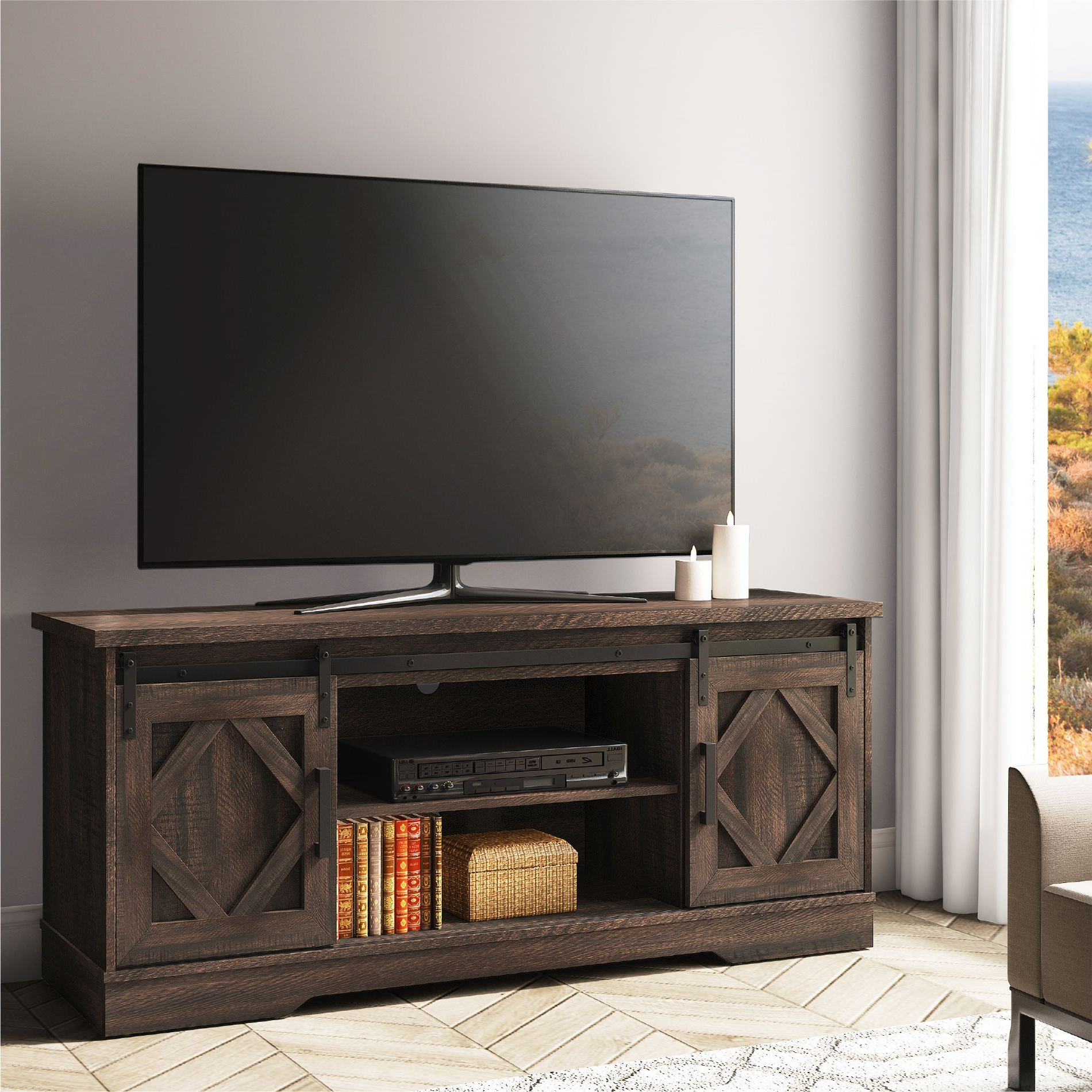 Fitueyes Sliding Barn Door Tv Stand For 70 Inch Flat Throughout Fitueyes Rolling Tv Cart For Living Room (View 18 of 20)