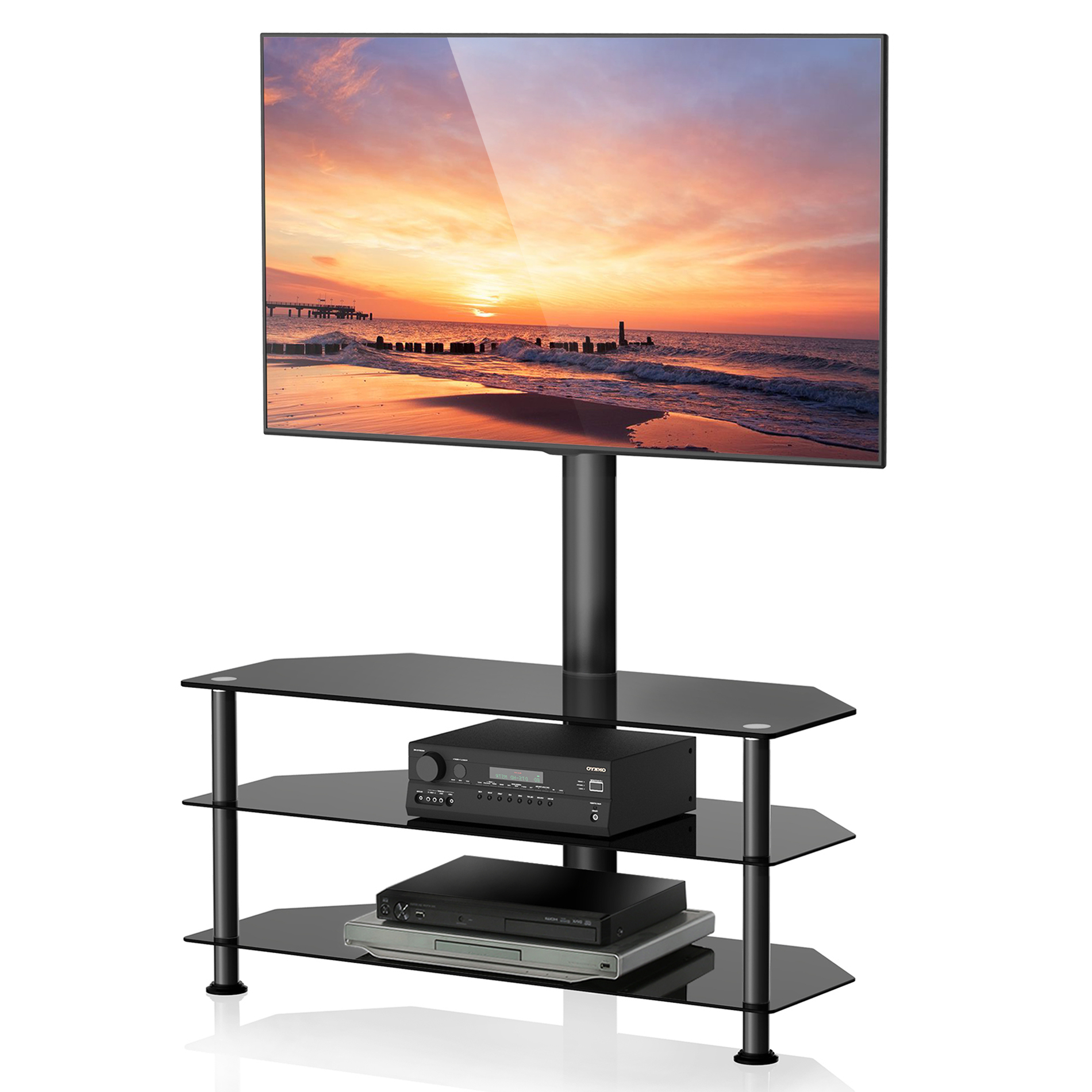 Fitueyes Swivel Mount Floor Tv Stand , Height Adjustable Intended For Modern Floor Tv Stands With Swivel Metal Mount (View 2 of 20)