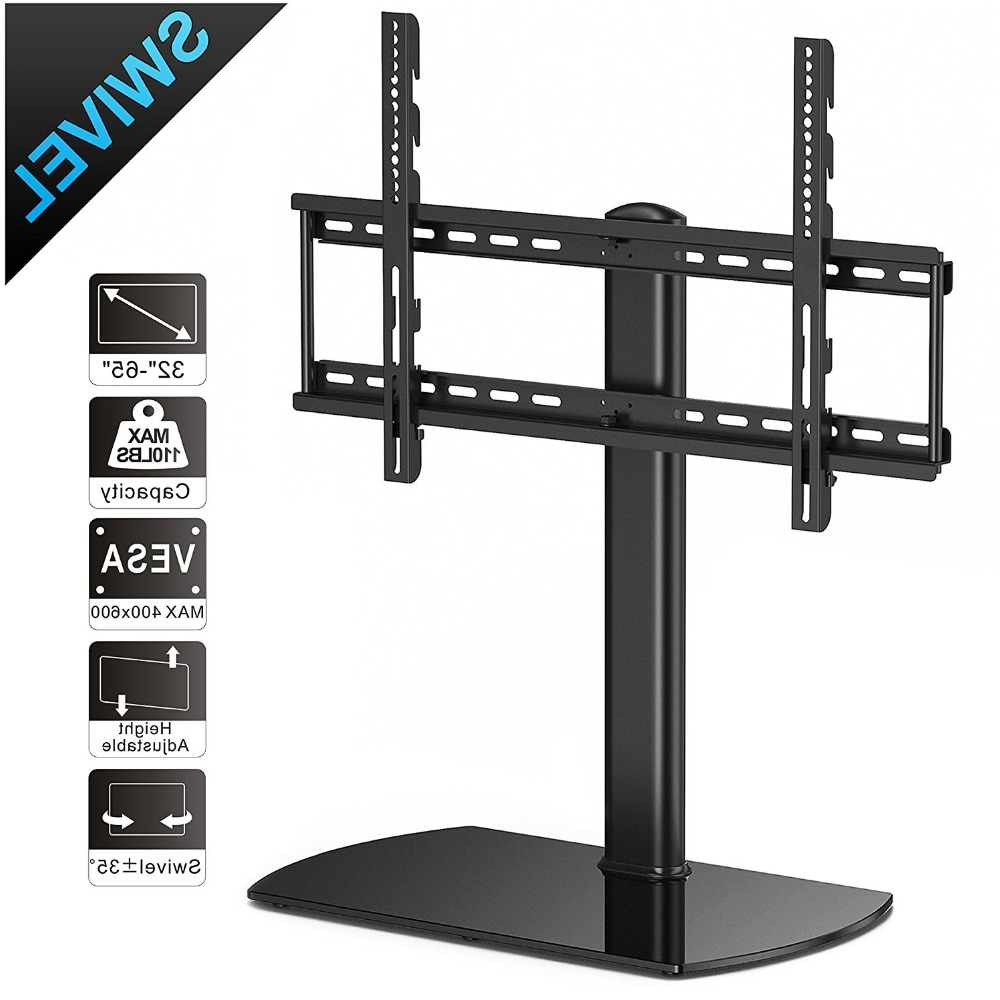 Fitueyes Swivel Universal Tv Stand/base Tabletop Tv Stand In Fitueyes Rolling Tv Cart For Living Room (View 12 of 20)