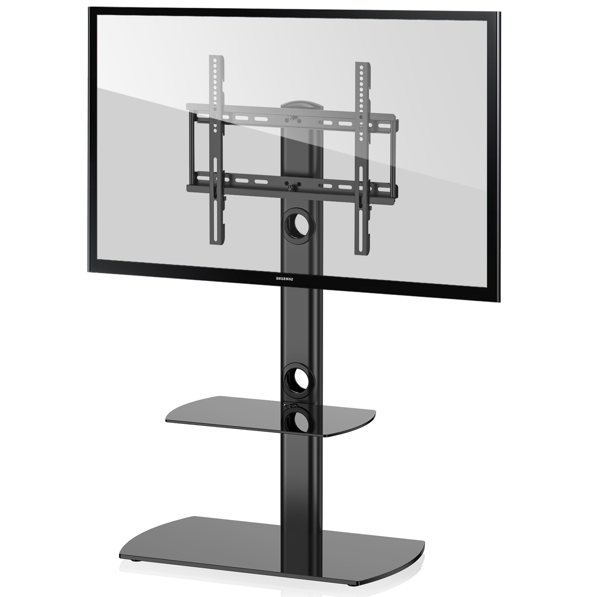 Fitueyes Universal Floor Tv Stand With Swivel Mount Height Pertaining To Modern Floor Tv Stands With Swivel Metal Mount (View 12 of 20)