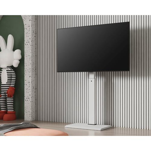 """Fitueyes White Floor Tv Stand For 32 55 Inch Tv Screen Intended For Tv Stands With Cable Management For Tvs Up To 55"""" (View 13 of 20)"""