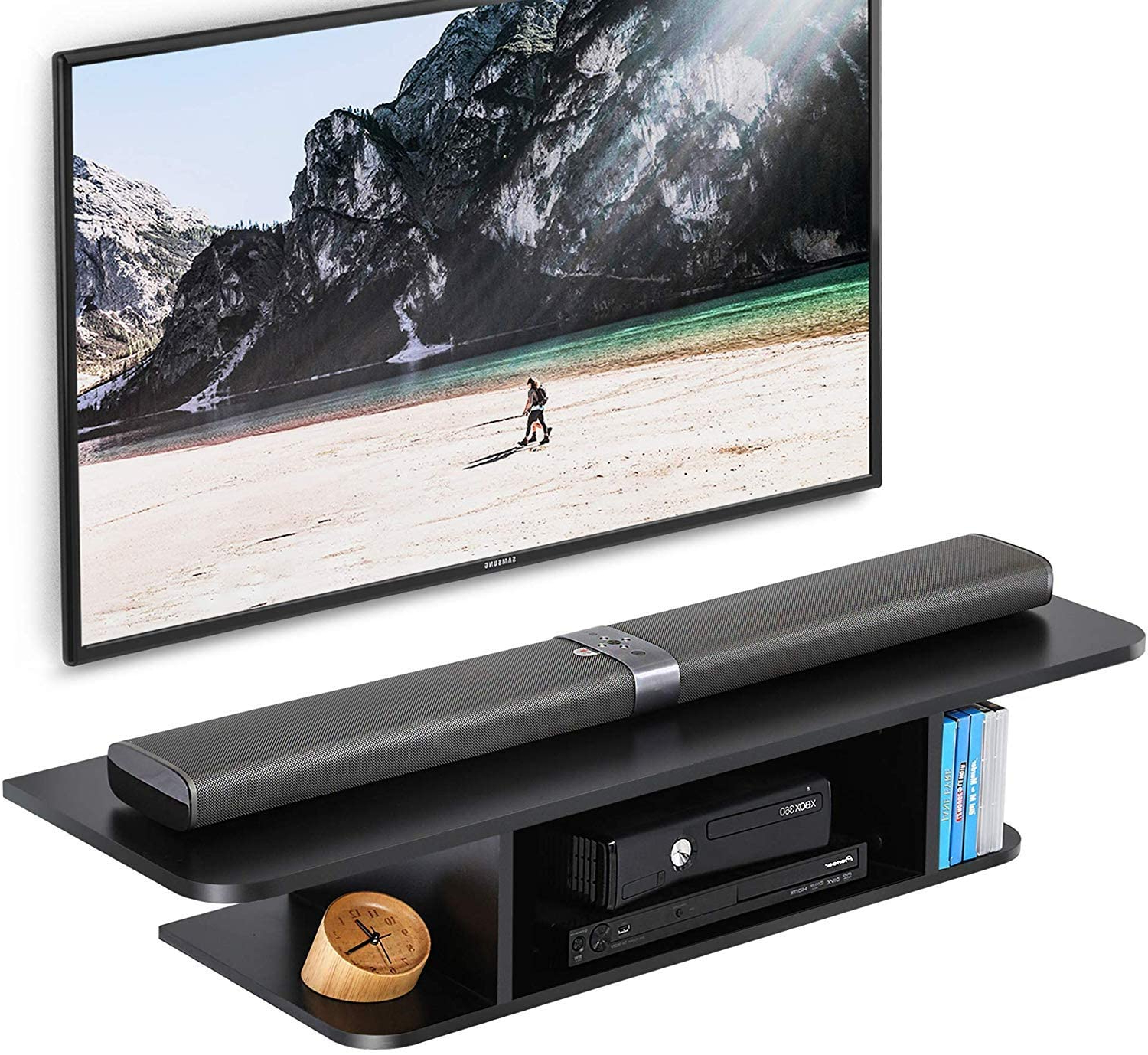 Fitueyes Wood Floating Tv Stand Wall Mounted Media Console With Horizontal Or Vertical Storage Shelf Tv Stands (View 17 of 20)
