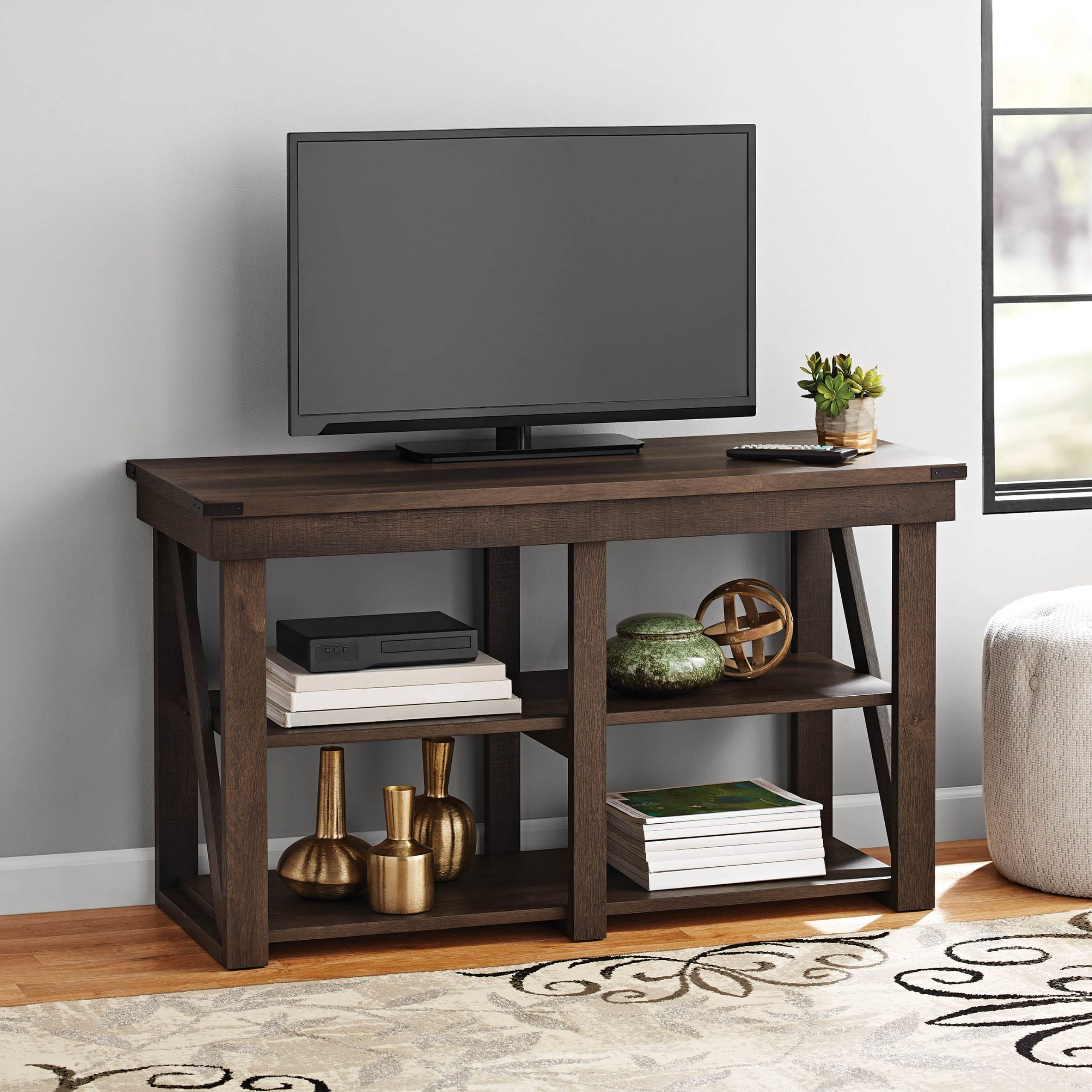 Flat Screen Tv Stand At Walmart — Shermanscreek Regarding Whalen Shelf Tv Stands With Floater Mount In Weathered Dark Pine Finish (View 3 of 20)