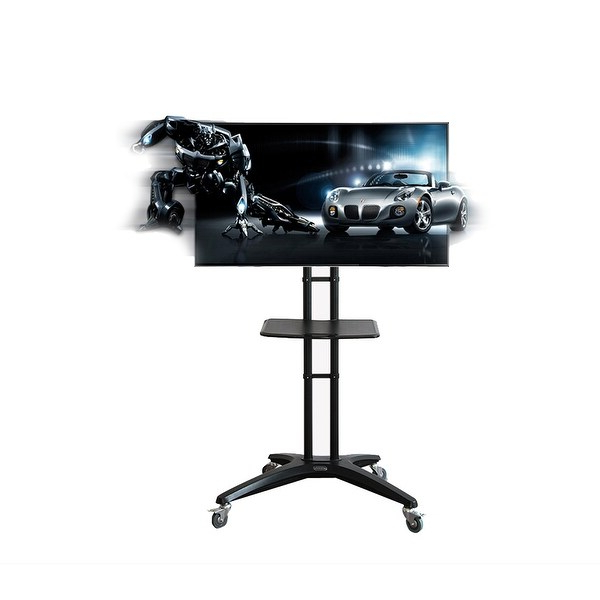 Fleximounts Mobile Rolling Tv Cart Lcd Stand For 32'' 65 Within Mobile Tv Stands With Lockable Wheels For Corner (View 2 of 20)