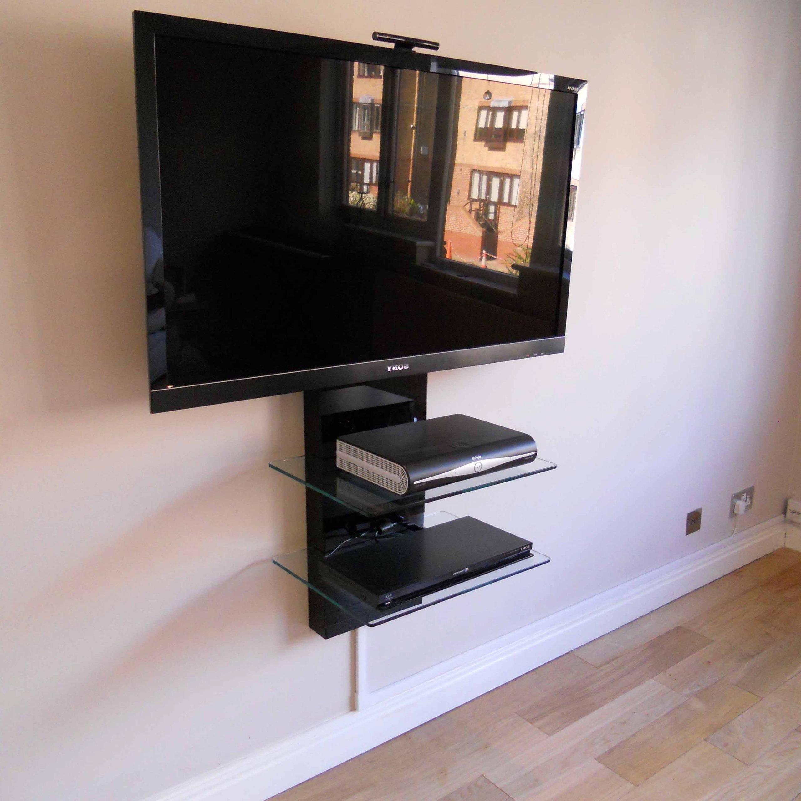 Floating Media Shelf Design – Homesfeed Pertaining To Tv Stands With Drawer And Cabinets (View 18 of 20)