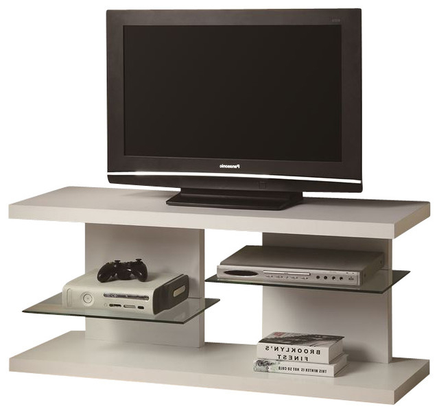 Floating Shelves Media Unit, White – Contemporary – Tv In Hannu Tv Media Unit White Stands (View 8 of 20)