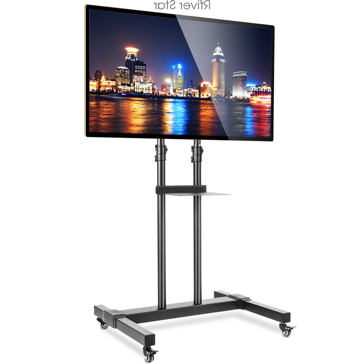 Floor Tv Stand Rolling Cart With Mount And Lockable Caster With Regard To Mobile Tv Stands With Lockable Wheels For Corner (View 1 of 20)