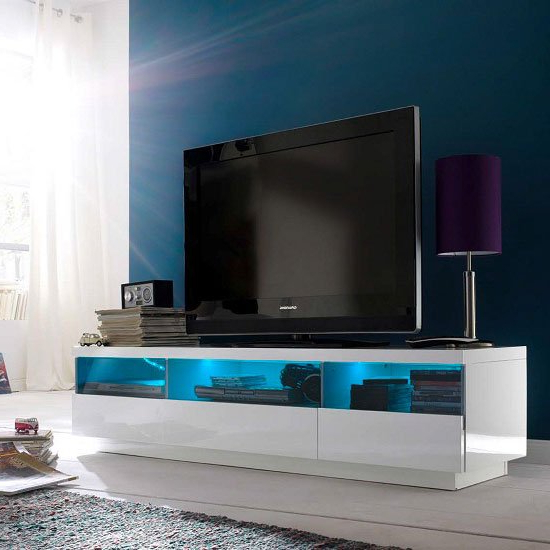 Floyd Tv Stand In White High Gloss With 3 Drawers And Led With Regard To 57'' Led Tv Stands Cabinet (View 13 of 20)