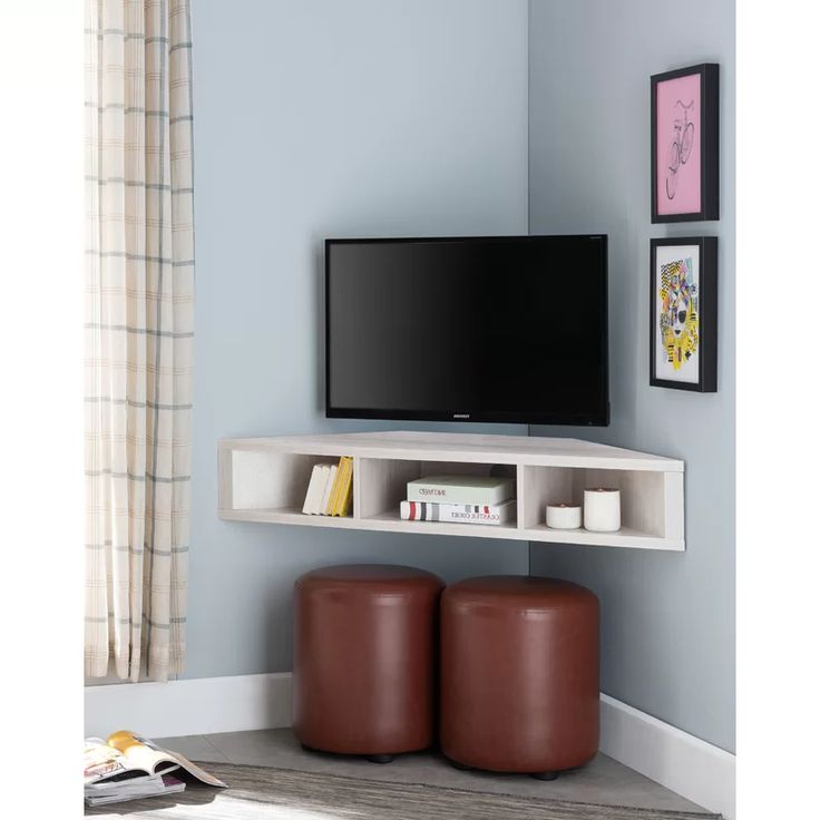 """French Floating Corner Tv Stand For Tvs Up To 50"""" 